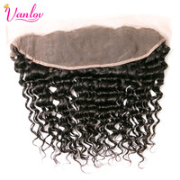 Vanlov Deep Wave Ear To Ear Lace Frontal Closure 13x4 Human Hair Free Part Closure Nature Black Non Remy Free Shipping