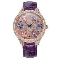 Матисса Мода Австрия кристалл вращающийся циферблат кожаный ремешок для часов Офисные женские туфли Для женщин девочек Buiness кварцевые часы