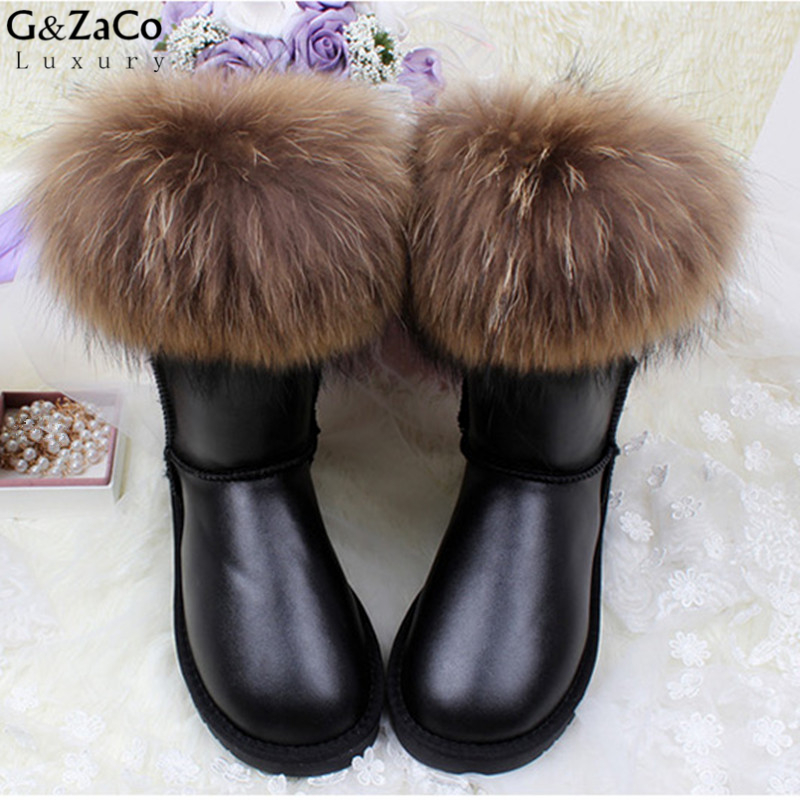 G&Zaco Luxury Brand Ultralarge Natural Fox Fur Snow Boots Genuine Leather Women Middle Calf Boots Real Fur Cowhide Snow Boots 2015 fashion luxury diamond flower design manual sticked shining purple genuine leather big fur boots mic calf high
