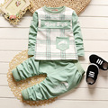 Conjunto de Roupas meninos Primavera Outono Crianças Roupas Da Moda Traje Estilo Coreano Shirt + Calças Outfit Terno Criança Meninos Treino 0-4Y