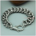 "21.5cm(8.46"")*17.5mm Hip Hop Boy's Men's Punk Jewelry Stainless Steel Silver Skeleton Chain Male Bracelet Bangle High Quality"