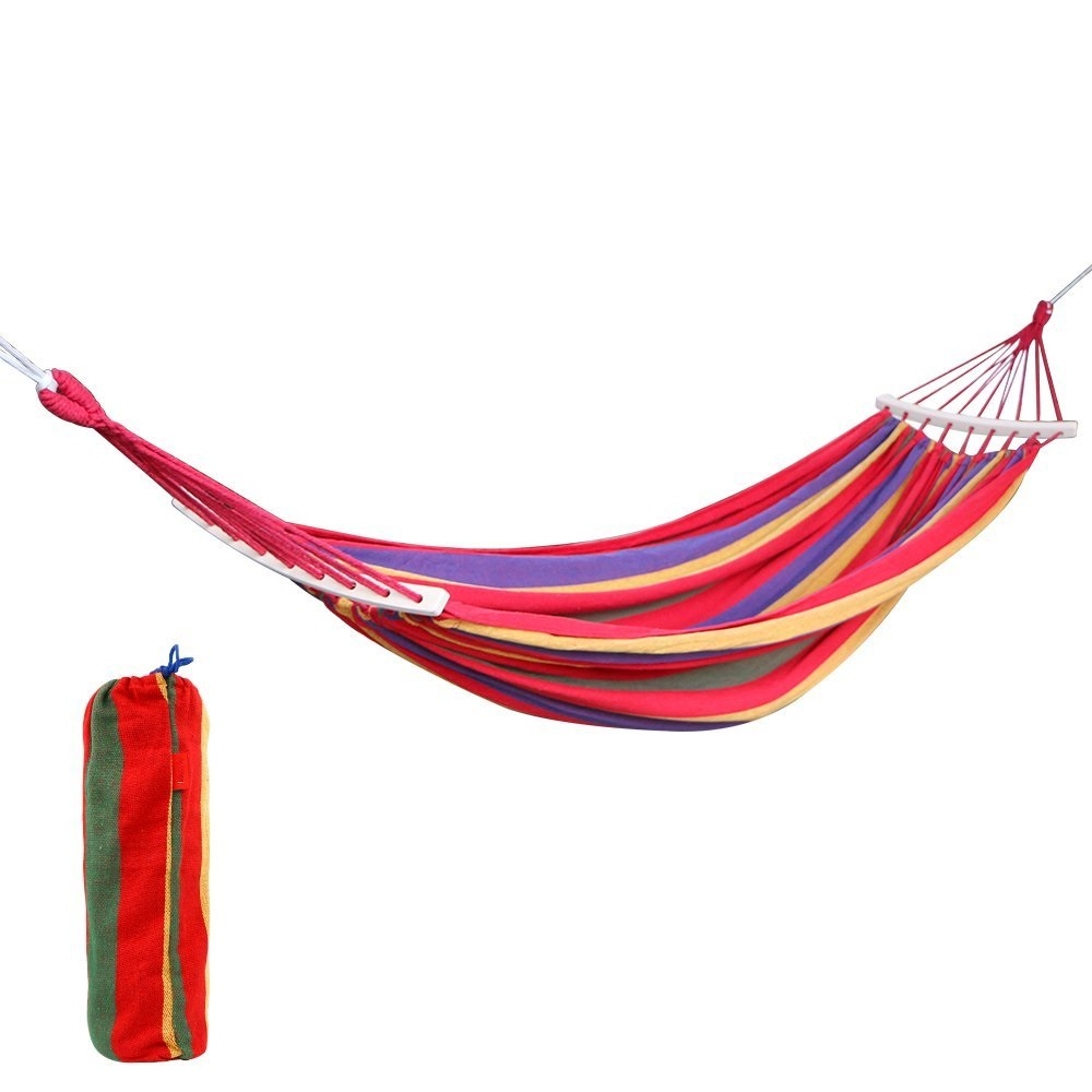 ФОТО Double 2 Person Cotton Fabric Canvas Travel Hammocks 450lbs Ultralight Camping Hammock with Hardwood Spreader Bar