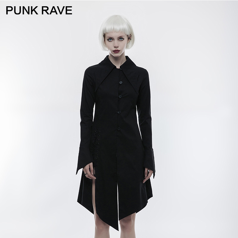PUNK RAVE gothique Vintage femmes chemise Punk Rock chauve-souris aile col Blouse Club fête femmes à manches longues Blouse chemise