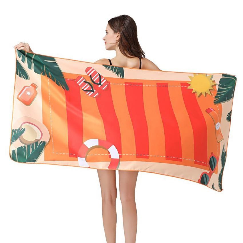 Quick Dry Summer Beach Towel 80 160cm Polyester Soft Thin Bath Shower Towels Swimming Sports Bikini Cover Up serviette de plage