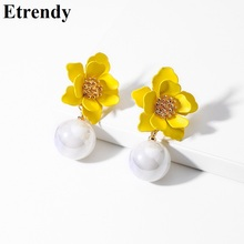 Fine Flower Drop Earrings For Women Girls 2019 Wedding Party Jewelry Yellow Boho Korean Simulated Pearl Pendant Earrings Bijoux издательство аст все правила английского языка для начальной школы издательство аст