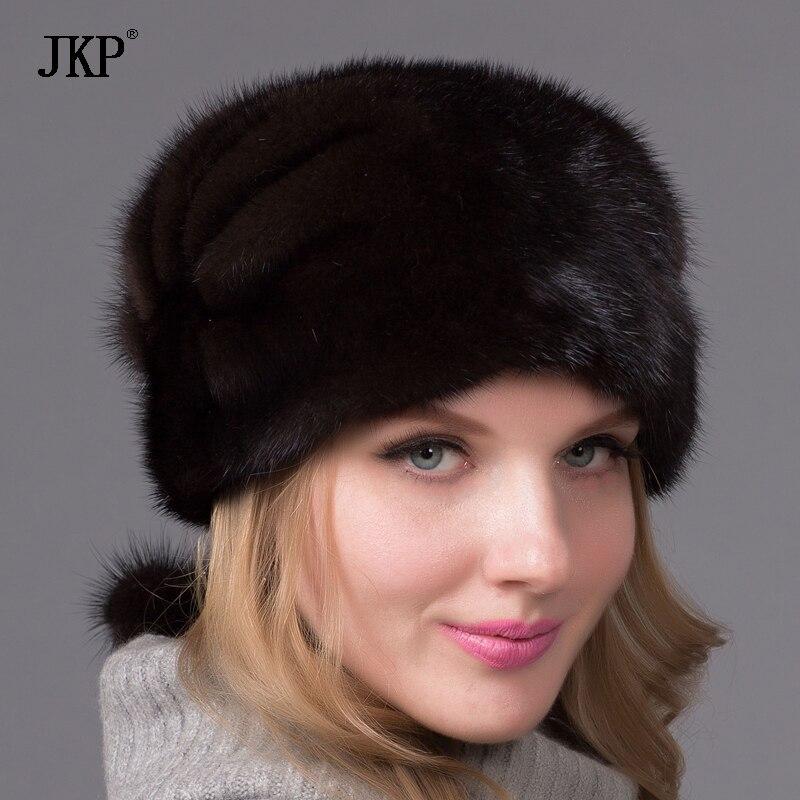 Зимняя популярная модель, простая цельная норковая шапка из меха норки, вязаная шапка, элегантная Европейская и американская мода, Дамская