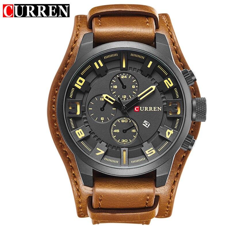2018 Curren 8225 Armée Militaire Quartz Hommes Montres Top Marque De Luxe En Cuir Montre Homme Casual Sport Homme Horloge Montre Relogio n9