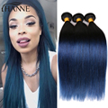 Straight Indian Hair dark roots blue end human hair 4pcs remy blue ombre hair weave 2tone ombre blue bundles HANNE Colorful Hair