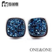 Wholesale Square 8*8mm Iolite Blue Druzy Drusy Stud Earrings