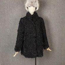 sheepskin fur coat womens fur coat lamb fur coat 100%natural furreal fur coat