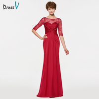 Dressv Sheath Scoop Neck Long Mother Of The Bride Dress Half Sleeves Beading Lace Ruched Gown