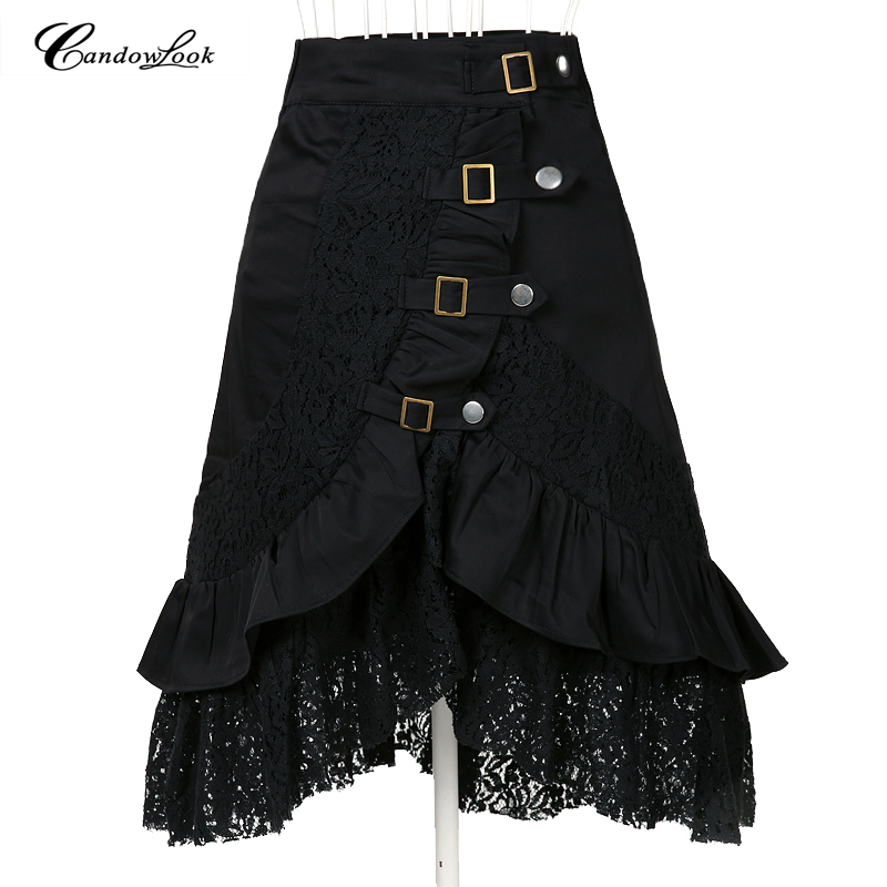 Steampunk clothing women's large size fashion black cotton lace skirt xl big goth punk clothes femme jupe saias UK designer club