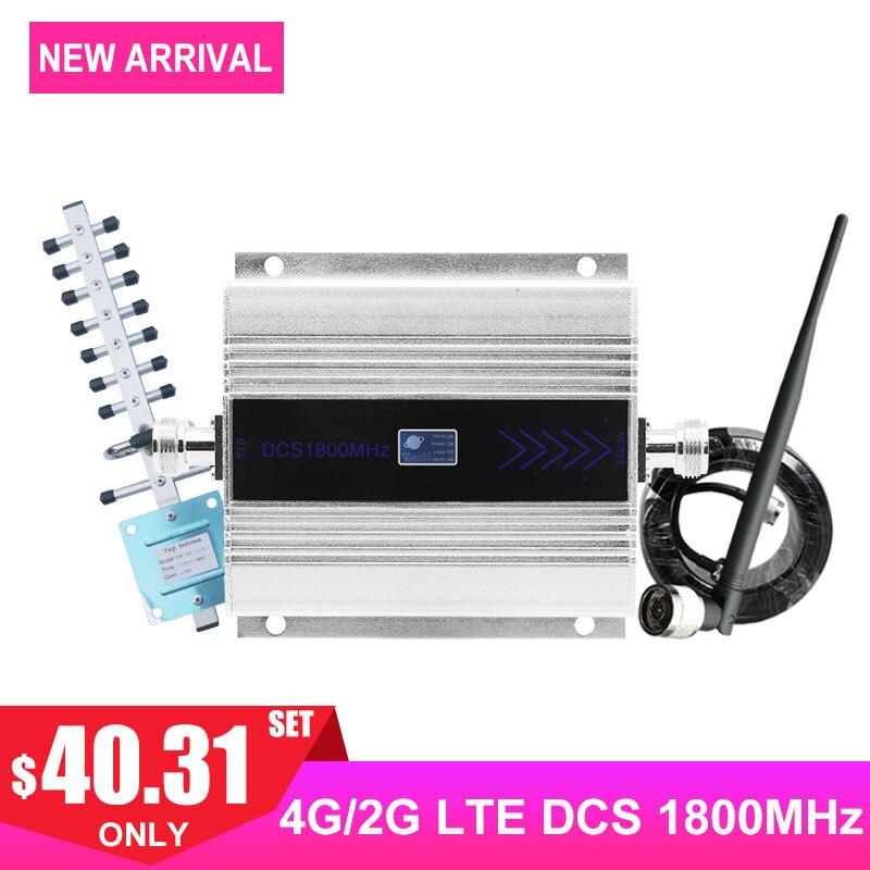 LTE 4G DCS 1800 MHZ amplificateur de Signal cellulaire affichage LCD répéteur de Signal de téléphone portable Yagi + câble Coaxial d'antenne fouet/