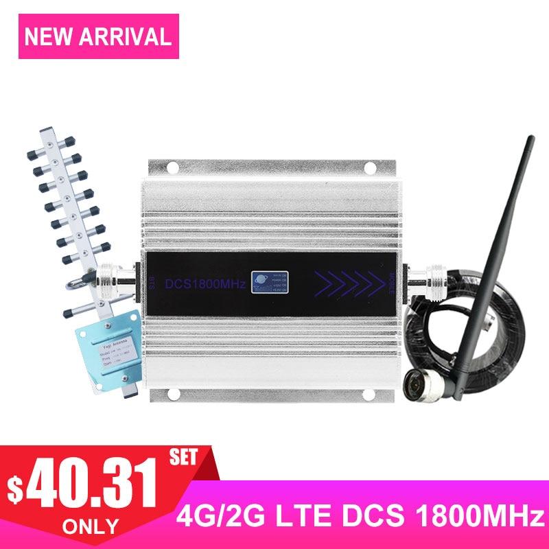 LTE 4G DCS 1800MHZ Celular Amplificador de Sinal Display LCD Mobile Phone Signal Booster Repeater Yagi + Chicote Antena cabo Coaxial/
