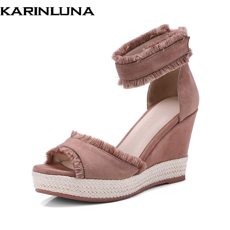 KarinLuna New women's Kid Suede Wedges Solid Ankle Strap Platform Shoes Woman Casual Summer Sandals phyanic 2017 gladiator sandals gold silver shoes woman summer platform wedges glitters creepers casual women shoes phy3323
