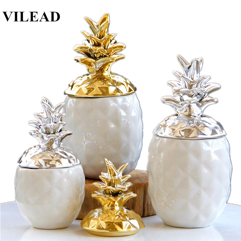 VILEAD 15.5cm 20.5cm Ceramic Pineapple Storage Box For Jewelry Black Pineapple Figurines Fruit Crafts Ornaments For Home Offices