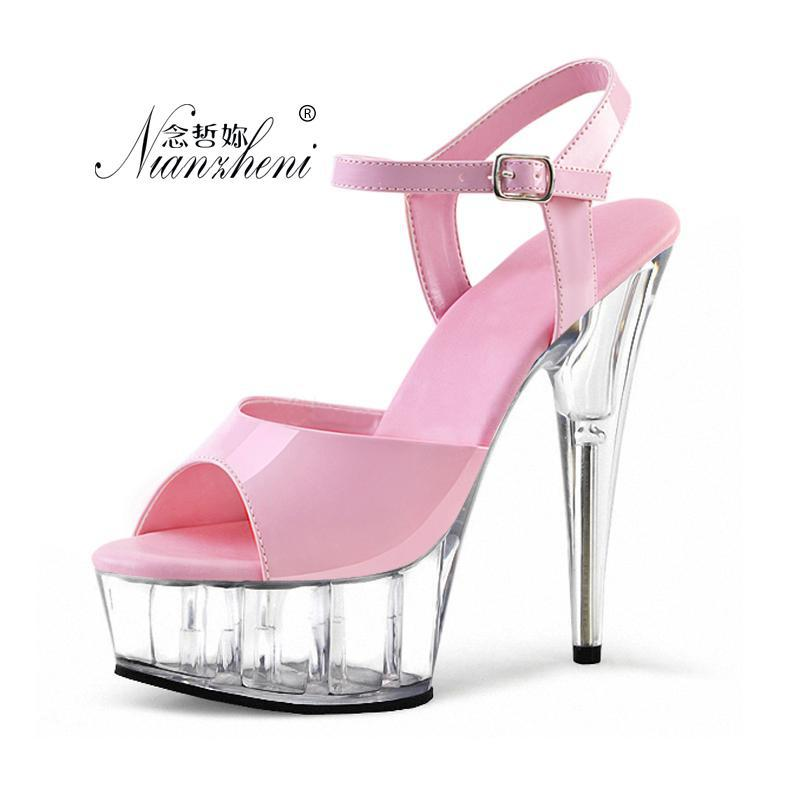 The princess's favorite sexy 15cm peep-toe Crystal shoes high-heeled dancing dinner Flower show set-up for women's shoes