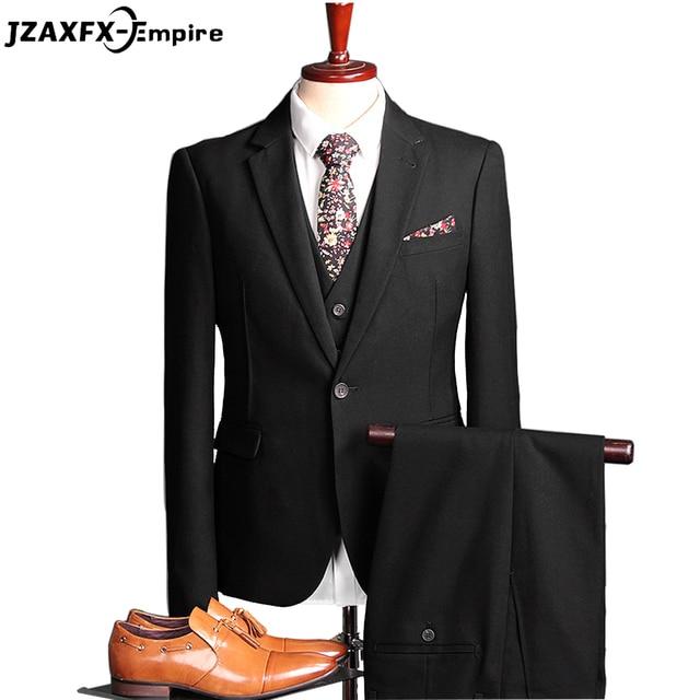 2017 New Arrival Men's Suit Slim fit Wedding Suit for men Top Quality (Pant+Vest+Suit) blazer men terno masculino