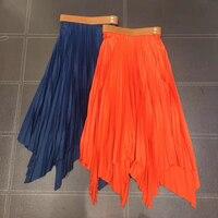 2019 Летние Плиссированные по щиколотку длинная Макси юбка винтажные женские юбка с металлическим отливом