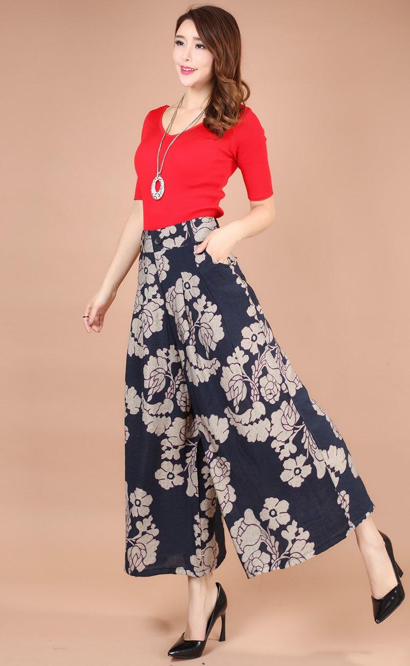 2017 Plus Size Summer Women Print Flower Pattern Wide Leg Loose