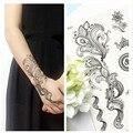1 Листов Черный Кружева Слон Одуванчик Хна Временная Вспышка Татуировки Наклейки Body Art