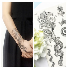 1 Sheet Black Lace Elephant Dandelion Henna Temporary Flash Tattoo Sticker Body Art