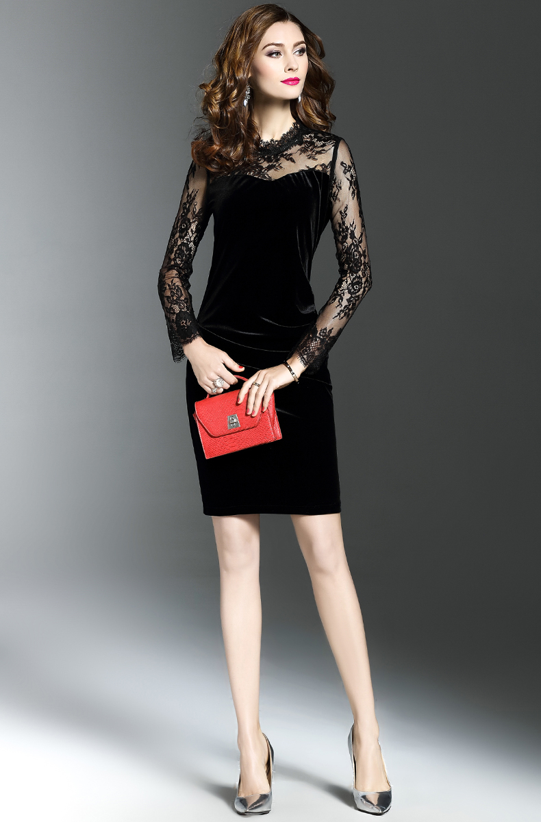 Elegant Long Sleeve Lace Velvet Midi Dress