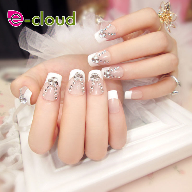 24pcs/set Classic fashion Nail Tips Long Design Full Cover False Nails square head with rhinestone Fake Nails with glue stickers