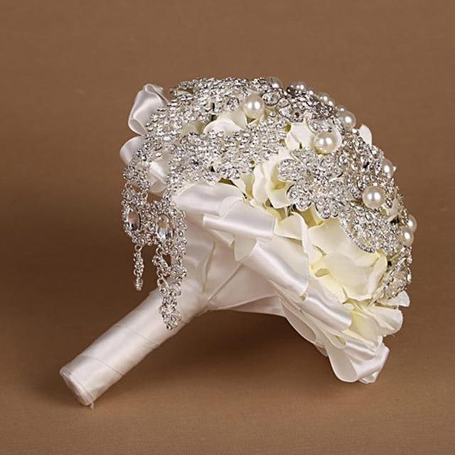 Высокое качество 2016 роскошный индивидуальные свадебное YIYI букет с перл из бисера брошь свадьба красочные невеста букет WD045