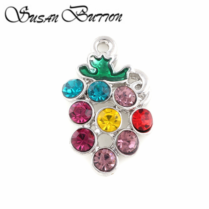 New Arrival 20Pcs Rainbow Crystal Fruit Grapes Floating Dangle charms For Floating Pendant Necklace jewelry SJDC3005