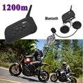 2 unids 1200 M BT Bluetooth Motocicleta Intercomunicador Del Casco de Auriculares Interphone 6 Jinetes