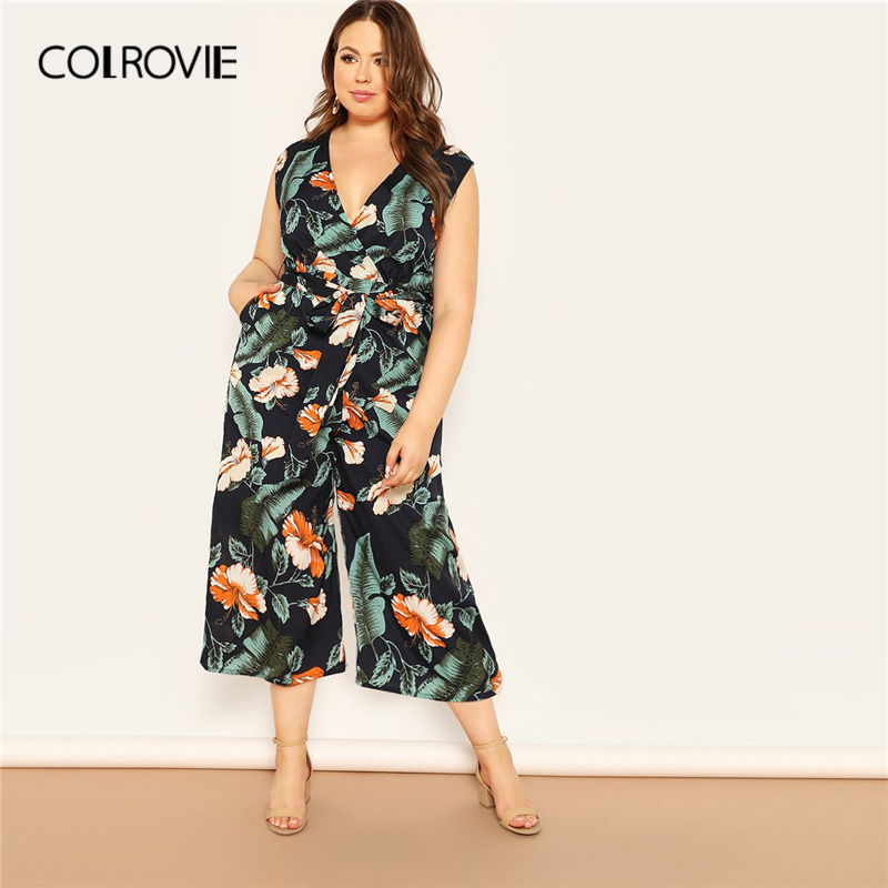 COLROVIE Plus Size V Neck Jungle Leaf Print Surplice Boho   Jumpsuit   Women 2019 Summer Sleeveless Belted Vacation Lady   Jumpsuits