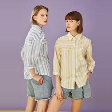 Toyouth 2019 Women Spring Blouse Fashion Turn-Down Collar Stripe Print Three-Quarter Sleeve Shirt Female Loose Blouses
