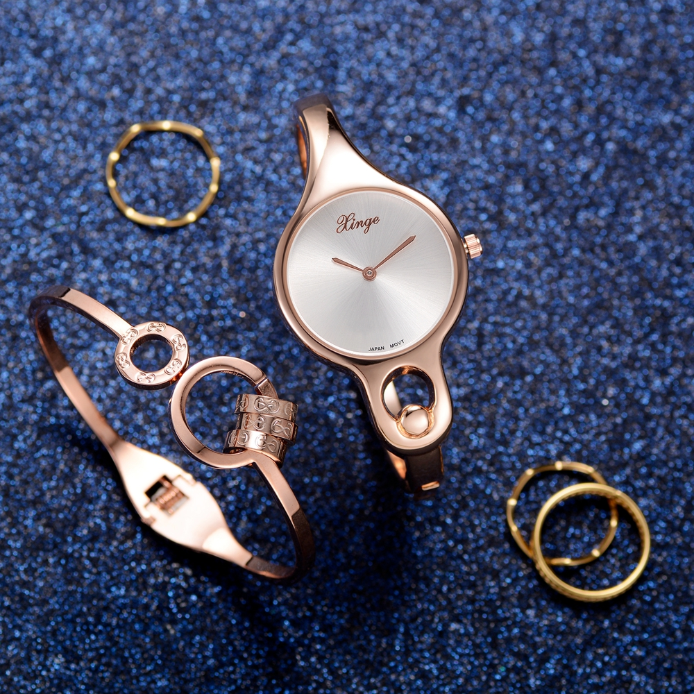 Xinge Brand Rose Gold Watches Stainless Steel Women Bracelet Watches Wristwatch Set Trend luxury Rose Simple Waterproof Clock woman bracelet watches rose gold disney brand women clocks stainless steel mickey mouse luxury diamond 30m waterproof wristwatch