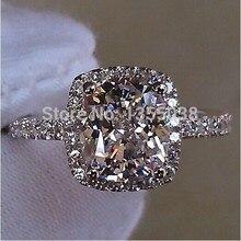 Ювелирная мода Классический Gem 5А Циркон камень Стерлингового Серебра 925 Обручальное Обручальное кольцо Кольца Sz 5-11 Подарок Бесплатно доставка