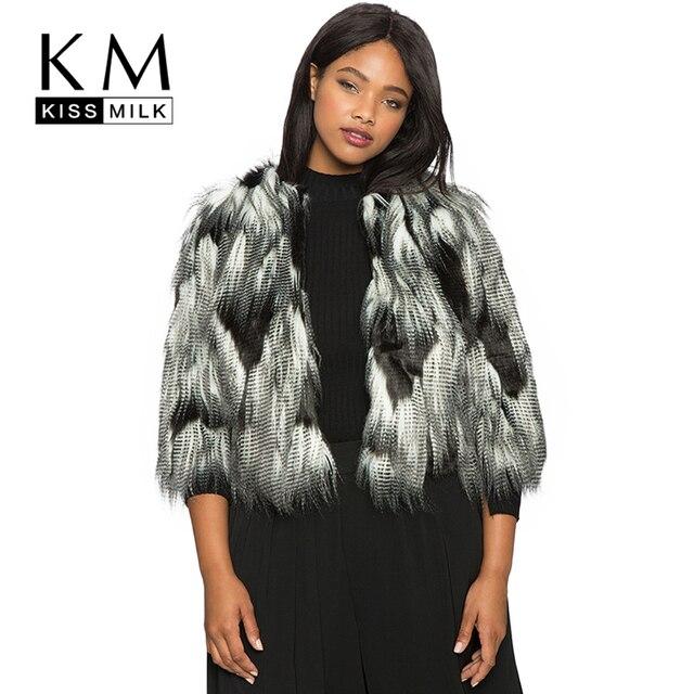 a8c53dfd7f Kissmilk Plus Size Moda de Nova Roupas Femininas Roupas Falso Engrossar  Inverno Quente Casaco de Pele