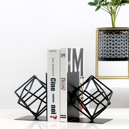 Creative Fashion Metal Bookends Black Geometry Shape Book Stand Home