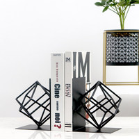 Creative Fashion Metal Bookends Black Geometry Shape Book Stand Home Office Decoration Desk Organizer Book Shelf Holder
