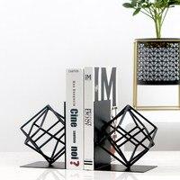 Creative Fashion Metal Bookends Black Geometry Shape Book Stand Home Office Decoration Desk Organizer Book Shelf Holder