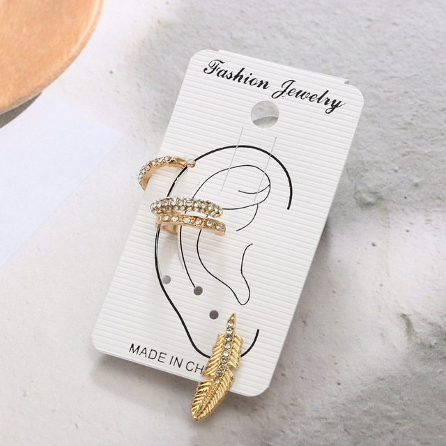 RscvonM Vintage Leaf Clip On Earrings Gold Colour Crystal Ear Cuff Pendientes 3