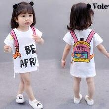 a6f6683b6 2018 verano 1-6 años Niño niños ropa niñas algodón de impresión de dibujos  animados bebé Camiseta larga camisa vestidos