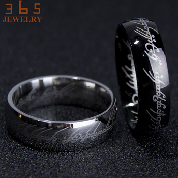 Magic Letter The Lord of One Ring Black Silver Gold Titanium Stainless Steel Ring 2