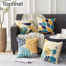Topfinel siluet yapraklar kuşlar atmak yastık kılıfı keten çiçek baskılı sanatsal minder ev dekor için kapakları kanepe sandalye yatak