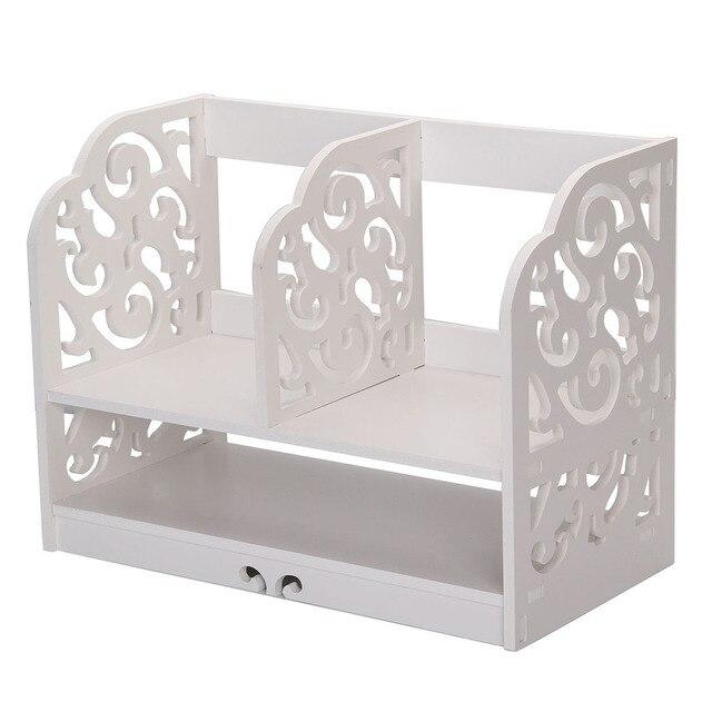 Home Office White Wooden Desk Tidy Stationery Pen Organiser Holder Shabby  Chic Pattern:Filigree