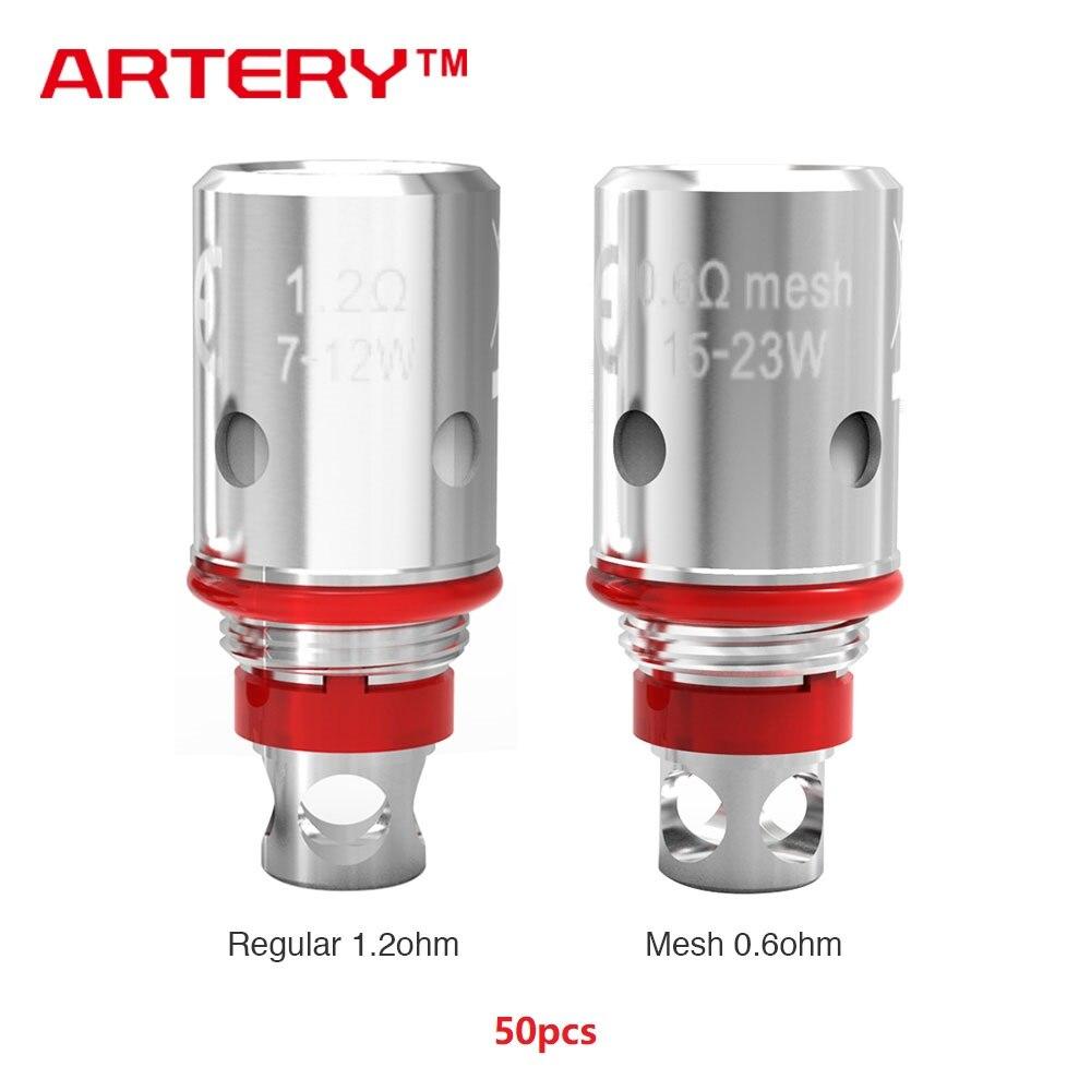 50 pcs artère d'origine PAL II bobine artère PAL 2 tête avec 0.6ohm bobine de maille et 1.2ohm bobine régulière pour PAL 2 Pod Kit vaporisateur Vape