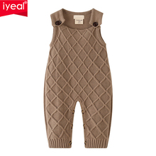 цены IYEAL Newborn Baby Girl Knit Overalls Toddler Boys Knitted Clothes Sleeveless Children Infant Toddler Winter Clothes