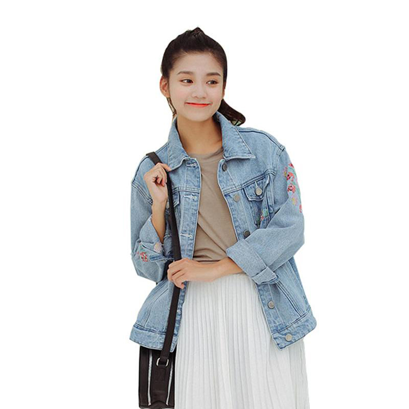 High Quality Women Denim Jacket 2017 New Spring Fashion Boyfriend Style Flower Embroidery Jeans Coat Oversized Chaquetas Mujer