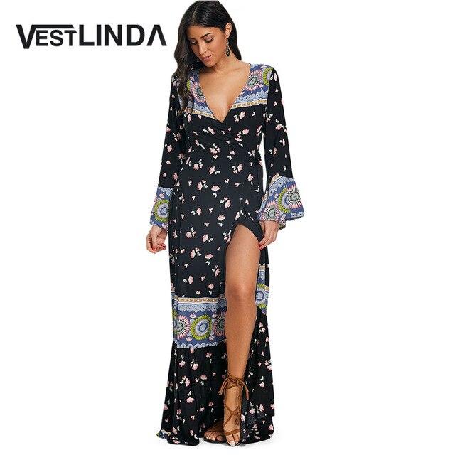 VESTLINDA Print Maxi Wrap Dress Bohemian Straight V Neck Long Sleeve Floor-Length  Dress Women Beach Summer Casual Maxi Dresses 8514e942e