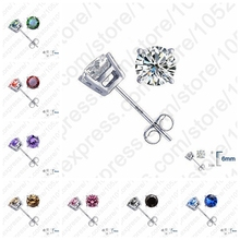 PATICO Real Pure 925 Sterling Silver High Quality Earrings Jewelry Women Accessories Cubic Zircon 4 Claws Stud Earrings 8 Colors