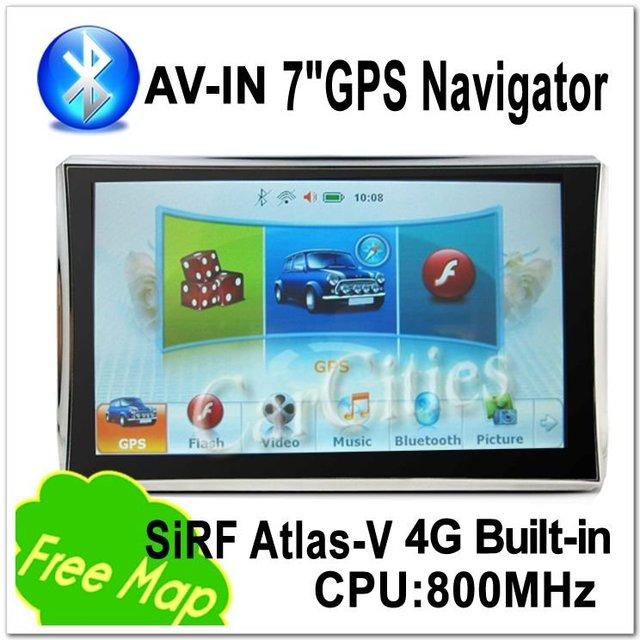 Original Edition 7' GPS Navigation SiRFAtlas-V Bluetooth& AV-IN 800 MHz DDR128M 4G Memory Built-in Win CE 6.0 Navitel/IGO8 Map